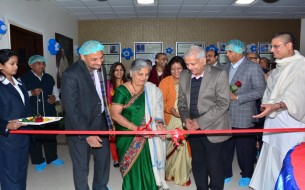 Sudha Murthy inaugurating the safe drinking water project